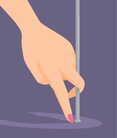 Cartoon illustration of feminine hand pole dancing