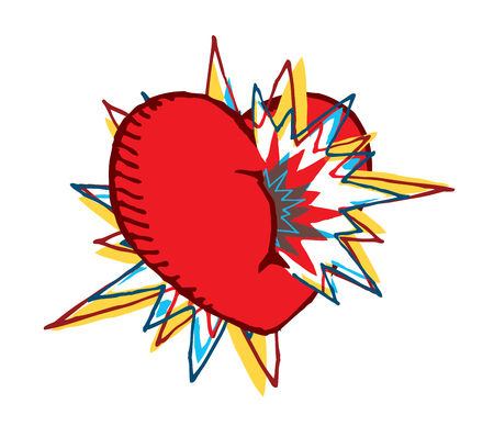 Cartoon illustration of colorful heart exploding