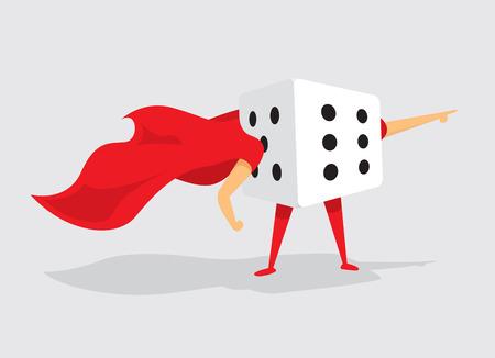 Cartoon illustration dice of random super hero dice with cape Ilustração