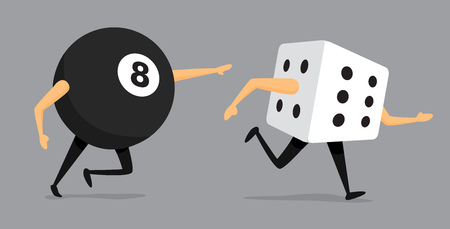 Cartoon illustration of bad luck eight ball chasing dice
