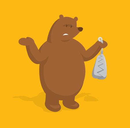 Illustration de dessin animé de gros ours tenant un piège Vecteurs