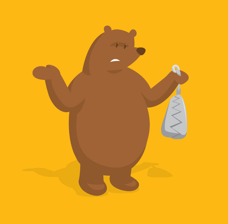 Cartoon illustration of big bear holding a trap