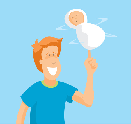 Cartoon illustration of dangerous stunt with baby