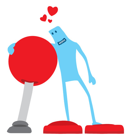 Cartoon illustration of funny gamer character in love with arcade