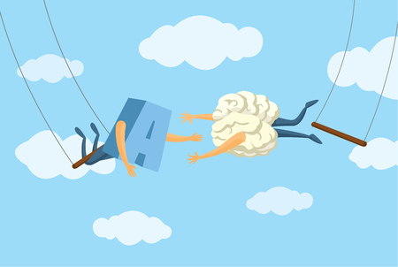 Cartoon illustratrion of daring brain on trapeze jumping into letter Illustration