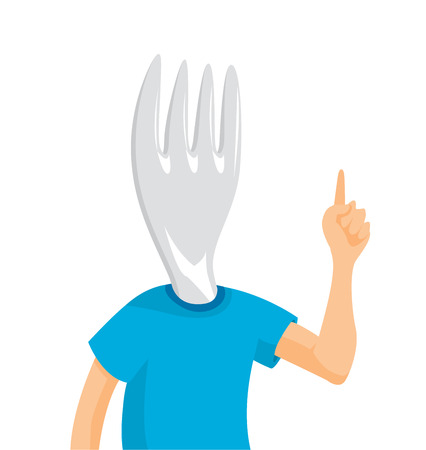 Cartoon illustration of fork head man ordering food Illustration
