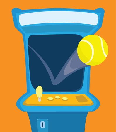 bounce: Cartoon illustration of tennis ball bouncing on arcade game Illustration