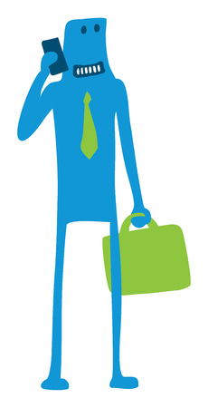 niños platicando: Cartoon illustration of businessman talking on mobile phone