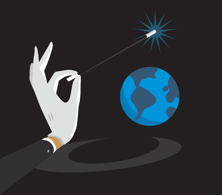 Cartoon illustration of magic wand enchanting tiny planet earth