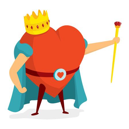 Beeldverhaalillustratie van hartkoning die zich met kroon bevinden Stock Illustratie