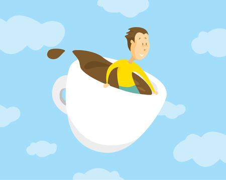 Cartoon illustration of man flying breakfast in huge cup of coffee