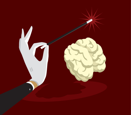 Cartoon illustration of magic wand enchanting brain
