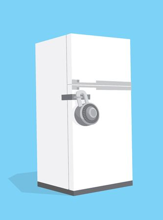 Illustration de dessin animé du réfrigérateur de régime verrouillé avec cadenas de combinaison