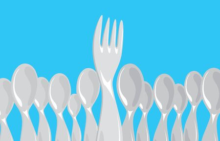 Cartoon illustration of many spoons around an powerful fork Ilustrace