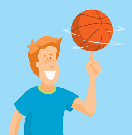 Cartoon man of confident player spinning basketball on his finger Illustration