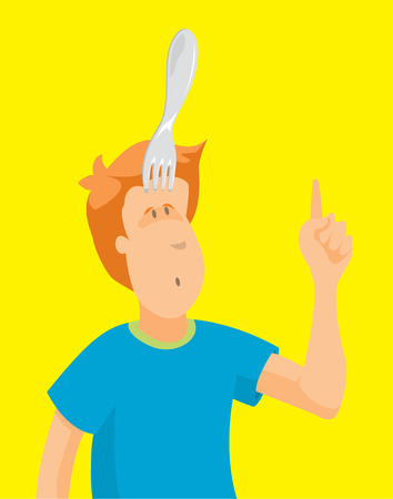 Cartoon illustration of funny man stabbed with fork on his head
