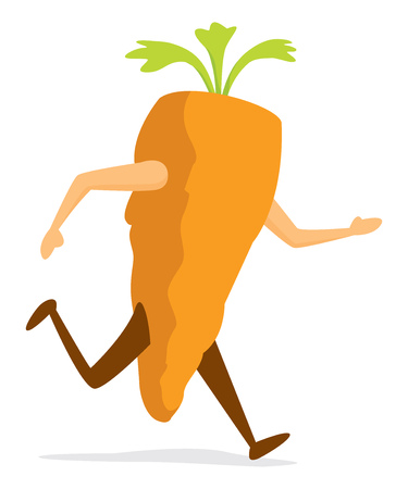 Cartoon illustration of carrot running or training