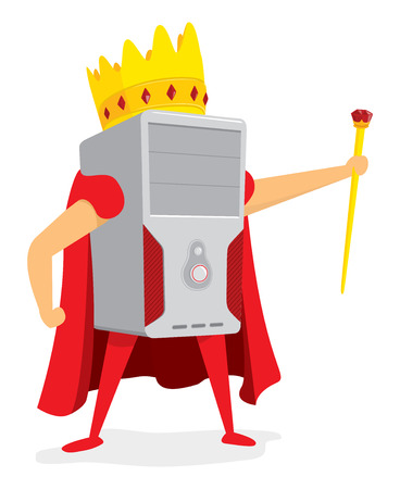 Cartoon illustration of computer king standing with crown Illustration