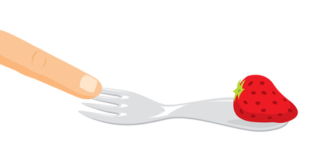Cartoon illustration of finger or hand playing with food Illustration