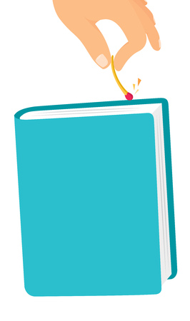 contemplate: Cartoon illustration of fire match sparking on book or notebook