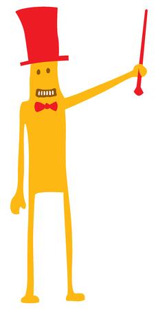 Illustration de dessin animé de présentateur de spectacle drôle ou hôte au travail Banque d'images - 81918943