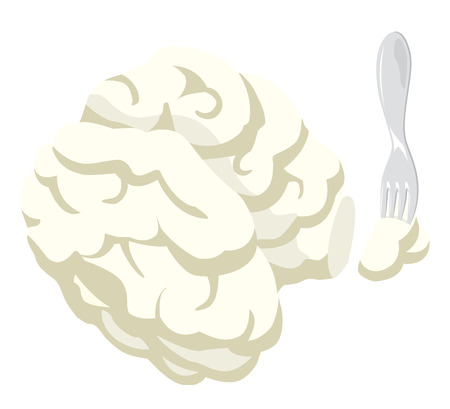 Cartoon illustration of fork holding a separate portion of brain