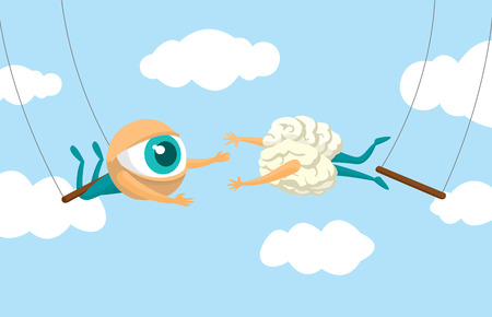 Cartoon illustration of teamwork between eye and brain on flying trapeze