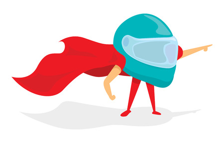 Cartoon illustration of helmet super hero standing with cape Stock Vector - 81918955