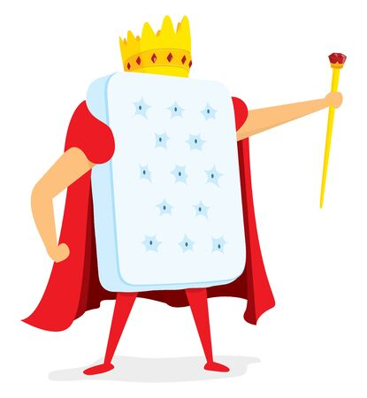 Cartoon illustration of mattress king standing with crown