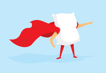 Cartoon illustration of super pillow hero with cape