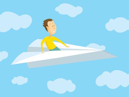 紙 airpane に飛んで男の漫画イラスト  イラスト・ベクター素材