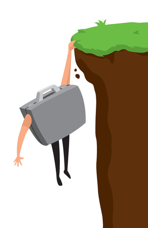 Cartoon illustration of desperate business portfolio about to fall