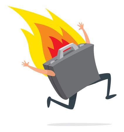 Bande dessinée illustration du portefeuille d'affaires en cours d'exécution désespérément en feu