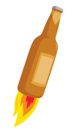 Cartoon illustration of beer bottle blasting off in flames Illustration