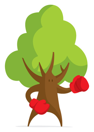Cartoon ilustration of fisty tree wearing boxing gloves