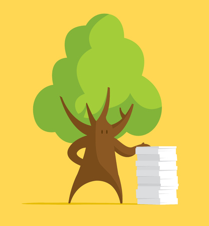 Cartoon illustration of tree leaning on paper stack