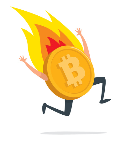 Cartoon illustration of bitcoin currency running on fire Illustration