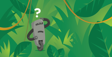 Cartoon illustration of doubtful robot lost in jungle