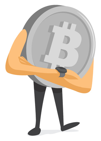 Cartoon illustration of bitcoin waiting with crossed arms Illustration