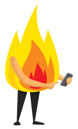 Cartoon illustration of fire flame using a mobile phone Illustration