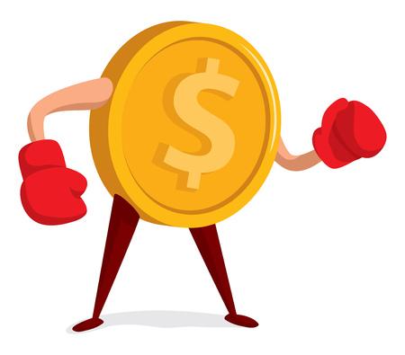 Cartoon illustration of money ready to fight
