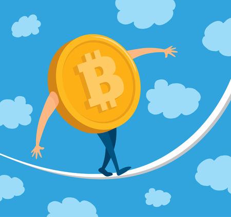 Cartoon illustration of bitcoin money balancing on rope