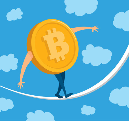 Cartoon illustration of bitcoin money balancing on rope