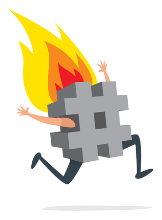 Cartoon illustration of desperate hashtag running on fire