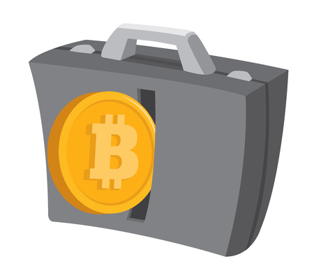 Cartoon illustration of bitcoin money entering business suitcase