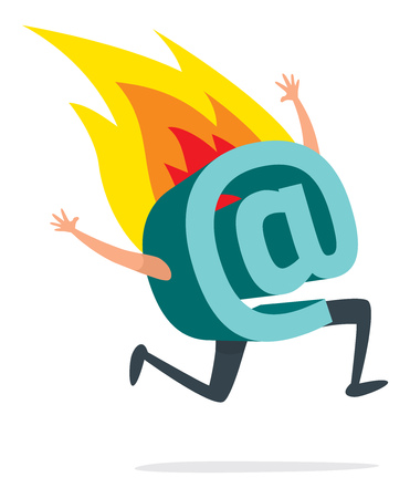 Cartoon illustration of desperate at symbol running on fire