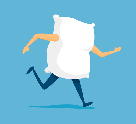 Cartoon illustration of white pillow on the run to sleep