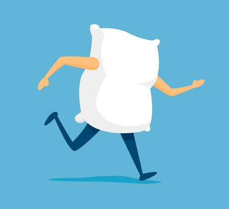 Cartoon illustration of white pillow on the run to sleep
