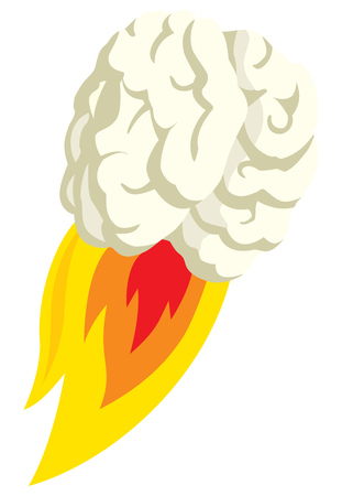 Cartoon illustration of flying brain blasting off in flaming thrust Illustration