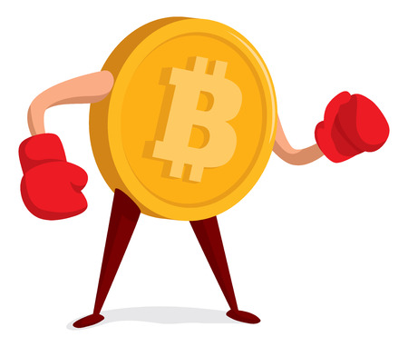 Cartoon illustration of bitcoin wearing boxing gloves ready to fight